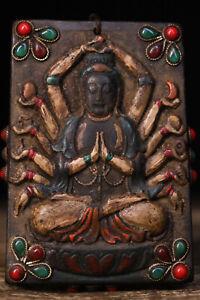 9cm China Tibet Antique Necklaces Natural meteorite Buddha Pendants amulet