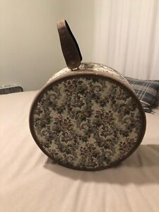 """Vintage French Luggage Co. """"Gray Rose"""" Suede and Tapestry 19"""" Round Hatbox"""