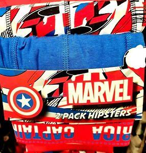 Marvel Comic Captain America Mens Hipster Boxer Trunks Mens Underwear  2PK XS-XL