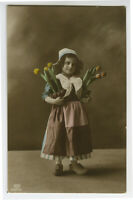 c 1912 Child Children LITTLE DUTCH GIRL w/  Tulip Flowers photo postcard