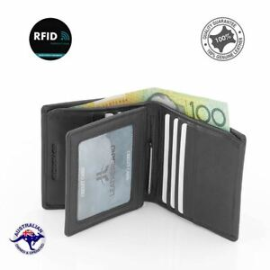 Men's Genuine Full Grain Leather RFID Protected Wallet with Money Clip New