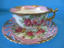 3 LEGGED CUP & OPEN LACE SAUCER  HEAVY GOLD PINK ROSES CABINET C& S WONDERFUL CO