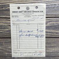 Vintage Receipt Sandusky County Farm Bureau Cooperative Fertilizer 1948 Ohio