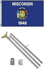 2x3 2'x3' State of Wisconsin Flag Aluminum Pole Kit Set