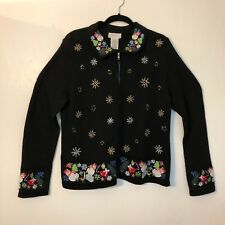 White Stag womens Christmas Sweater full zip Sz Large Snowflakes Snowmen Black