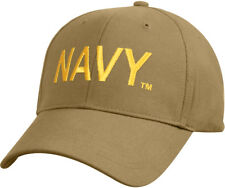 Coyote Brown / Gold US Navy Ball Cap Military Hat Adjustable Embroidered USN