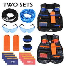 Two Sets Kids Vest Tactical Kit Foam Shooting Darts Mask For Nerf Strike Game CA
