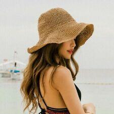US Summer Ladies Sun Beach Straw Hat Floppy Foldable Wide Brim Womens Gardening