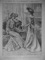 PUBLICITÉ DE PRESSE 1902 LA MODE TOILETTES DE DEMI-SAISON JUPE EN TAFFETAS GRIS