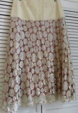 TEMPERLEY London long SKIRT cream lace, gold sequins, dark pink lining UK 10