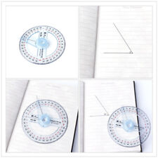 360 Degree Protractor Ruler Angle Finder Swing Arm School Office Plastic