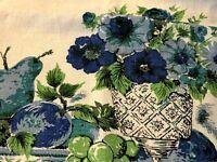 "Vintage MCM Blue Green White Fruit Flowers Linen Tablecloth 68""x50"""
