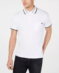 Versace  Men's Stretch Tipped Logo Short Sleeve Polo, White, Size S