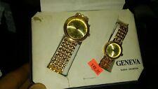 Geneva Classics woman's boxed 2 pc watch  set Gold plated square sides Quartz