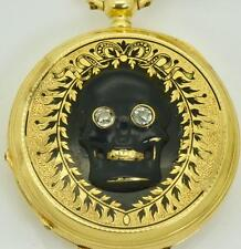 RAREST Georgian Memento Mori/Mourning black enamel Skull 18k gold&diamonds watch