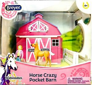 Breyer 5370 Stablemates Horse Crazy Pocket Barn Figure Foal & Fencing Scale 1:32