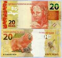 BRAZIL 20 REAIS ND 2010 / 2017 MONKEY SIGN 46 P 255 UNC
