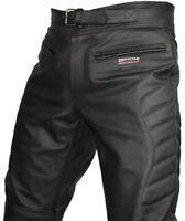 Hommes CE Renforcé Motard Cuir Noir Pantalons Moto Jeans Pantalon