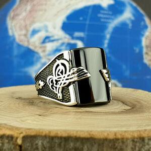 Solid 925 Sterling Silver Mens Black Onyx Gemstone  Size 10