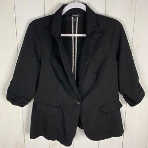 Torrid Womens Black Plus Size 0 Short Sleeve Single Button Career Blazer Jacket