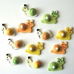 12 Wooden Painted Snail Embellishments New C0434