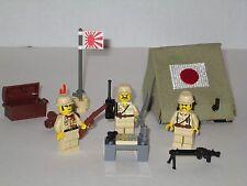 Lego Custom Japanese  Army Tent Playset w/ 3 Minifigs Modern Warfare