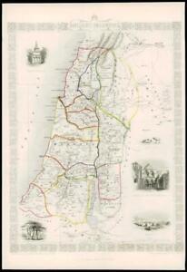 "1850 Illustrated Original Antique Map ""ANCIENT PALESTINE"" by TALLIS  (DW161)"