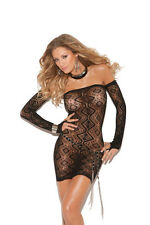 Black Lace Mini Dress with Matching Gloves - L705