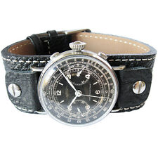 20mm Fluco Vigo German Mens Black Riveted Cuff Leather Pilot Watch Band Strap