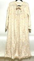 Vintage Pink Floral Barbizon Nightgown Flannel Smocked Full Length Granny Size M