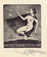 Ex Libris Ludwig Färber, Radierung von Walter Helfenbein, signiert, 1957