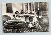 OLD VINTAGE VIEW OF YOUNG GIRLS AN CHILDREN EATIN A GIANT MELON POSTCARD A1