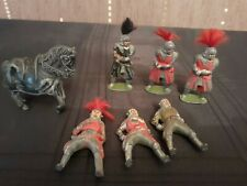 Cast Metal/lead Figures Knights And War Horse 7 X Pieces