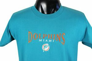 New VTG 90s MIAMI DOLPHINS Embroidered Logo T-SHIRT Large Made In USA Deadstock