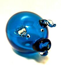 Art Glass Pig Blue Body Clear Applied Ears Snout Handcrafted 6 inches Long