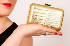 metallic gold croc pattern hard case clutch bag box bag ESTEE LAUDER