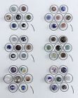 GORGEOUS CARD OF 42 ANTIQUE PAPERWEIGHT GLASS BUTTONS MANY SWIRLBACK VICTORIAN