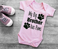 My Big brother has Paws short sleeve light pink baby grow bodysuit. cat dog paws
