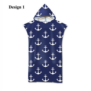 Nautical Anchor Stripes Flower Poncho Towel Hooded Bath Swim Beach Changing Robe