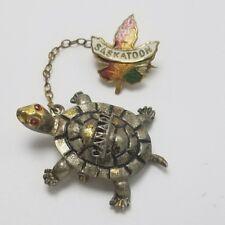 Vintage Saskatoon Canada Pin Turtle Pin Canada Souvenir Pin Travel Pin Leaf Pin