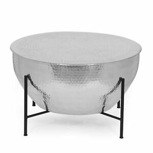 Pishkin Modern Handcrafted Aluminum Drum Coffee Table with Stand, Silver and Bla