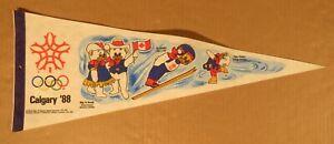 Vintage Calgary Alberta 1988 Olympic Games Felt Pennant With Hidy & Howdy