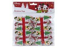 24 or 48 Disney Christmas Card Pegs Wooden Crafts Hanging Decorations Xmas Cards