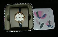 Fossil Annette Three-Hand Navy Leather Watch ES4403 NEW $145
