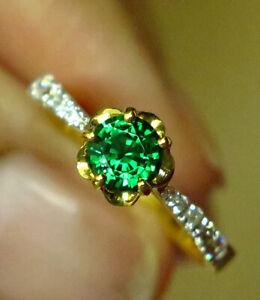 18K Yellow Gold Ring Top Chrome Tourmaline and Diamonds Jewelry