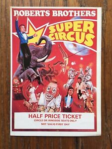 VINTAGE ROBERTS BROTHERS SUPER CIRCUS POSTER TICKET Weston-Super-Mare 1988