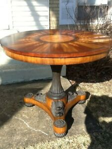 "MAITLAND SMITH INLAID CAST IRON & WOOD LARGE ROUND NEOCLASSICAL TABLE 42"" TOP"