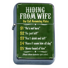 Silver Flip Top Oil Lighter Vintage Poster D18 Hiding From Wife Bar Phone Fee