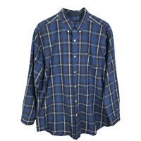 Chaps Mens Button Down Shirt Size L Blue Plaid Easy Care Long Sleeve Cotton