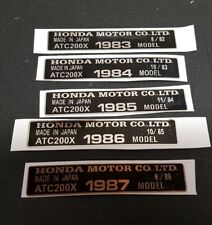 200X CHROME FRAME ID TAG FITS 84 1984 HONDA ATC 200X DECAL STICKER EMBLEM